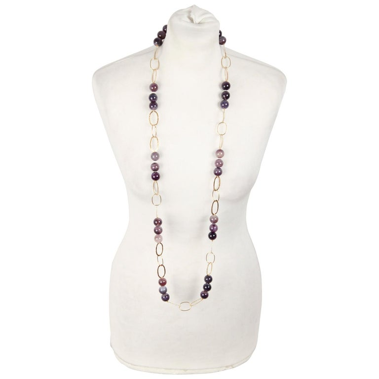 Handmade in Italy Gilded Sterling Silver 925 Gold Necklace with Agate Beads