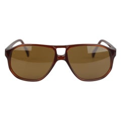 L.G.R. Aviator Brown Small Sunglasses Mod. Tangeri New, Handmade in Italy