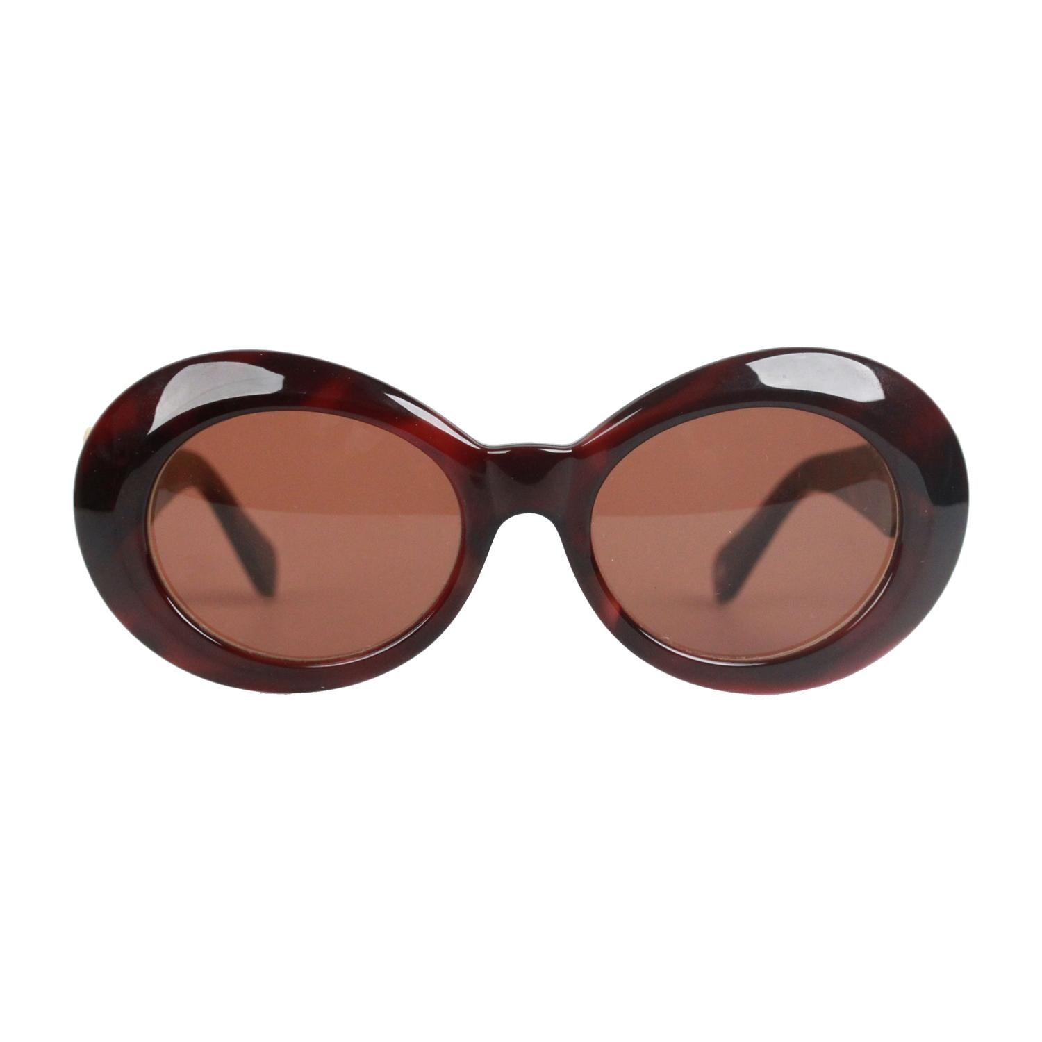 7d38272a142 Authentic Versace Brown Sunglasses Mod 418 Col 900 Gold Medusa For Sale at  1stdibs