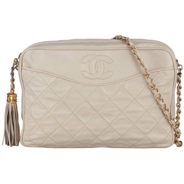 c3275fc121af CHANEL Vintage Ivory QUILTED Leather CC Stitch CAMERA BAG w/ Tassel For Sale