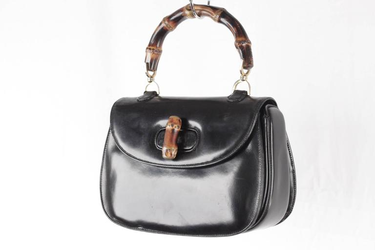 e408141560fd GUCCI Italian VINTAGE Black Leather BAMBOO BAG Handbag PURSE Rare In Good  Condition For Sale In