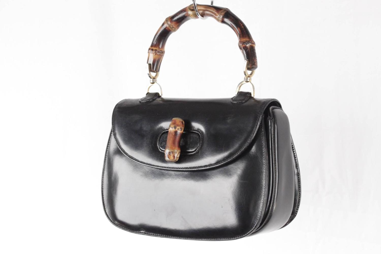 Gucci Italian Vintage Black Leather Bamboo Bag Handbag