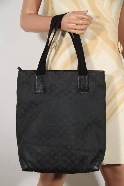 eeb220fb82 GUCCI Italian Black GG MONOGRAM Canvas TOTE Handbag SHOPPING BAG In  Excellent Condition For Sale In