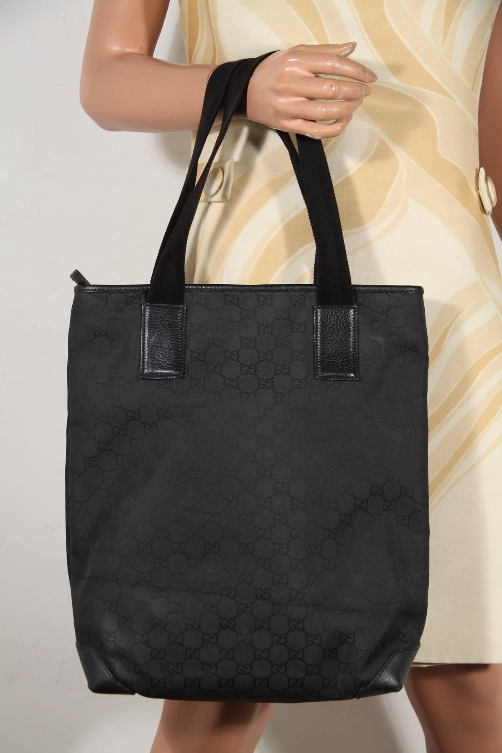 GUCCI Italian Black GG MONOGRAM Canvas TOTE Handbag ...