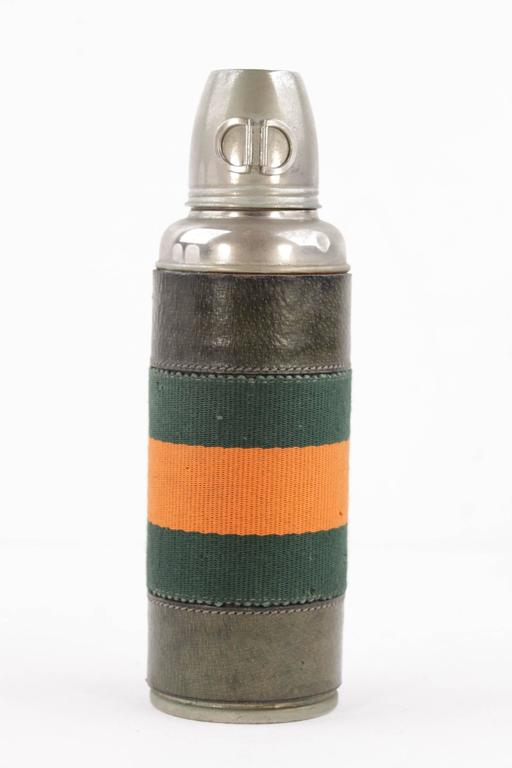 Gucci Italian Vintage Green Leather Thermos Vacuum Flask