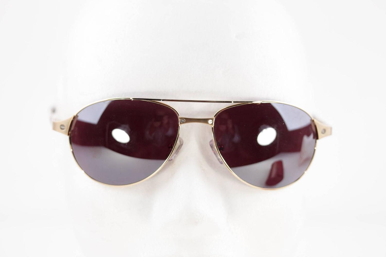 48dc24b8dd Cartier Black Pantheon Aviator Sunglasses
