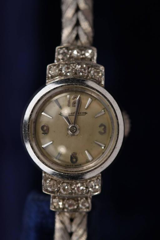 dd112f200fe1 Tiny ladies Jaeger LeCoultre 18k white gold wrist watch - Embellished by 14  small diamonds