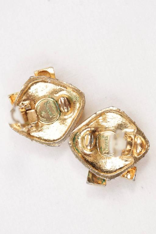 Chanel Vintage Quilted Gold Metal Clip on Earrings Bow Detailing with Box For Sale 3
