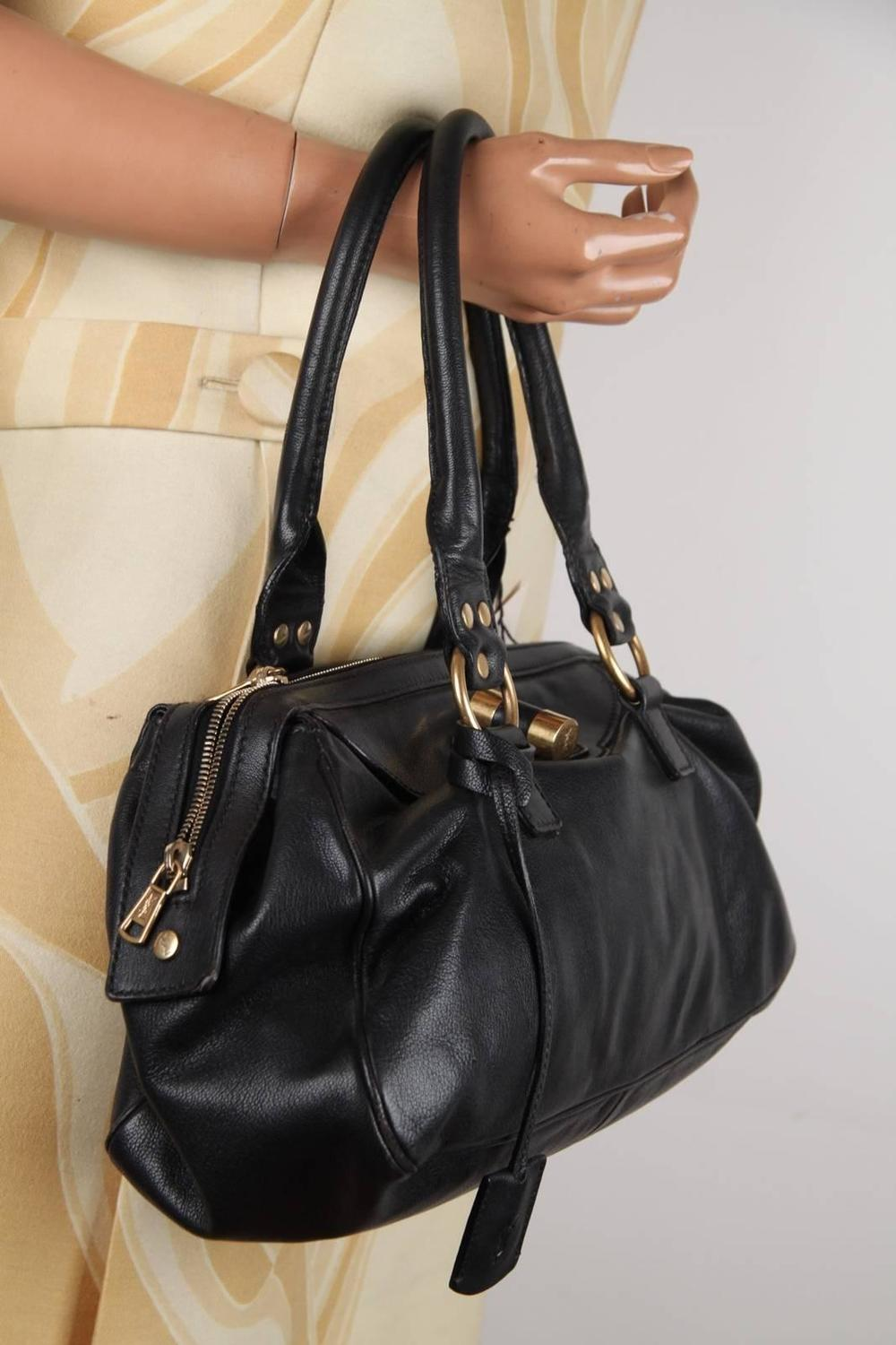 YVES SAINT LAURENT Black Leather MUSE Soft Doctor Bag TOTE Bowler ...