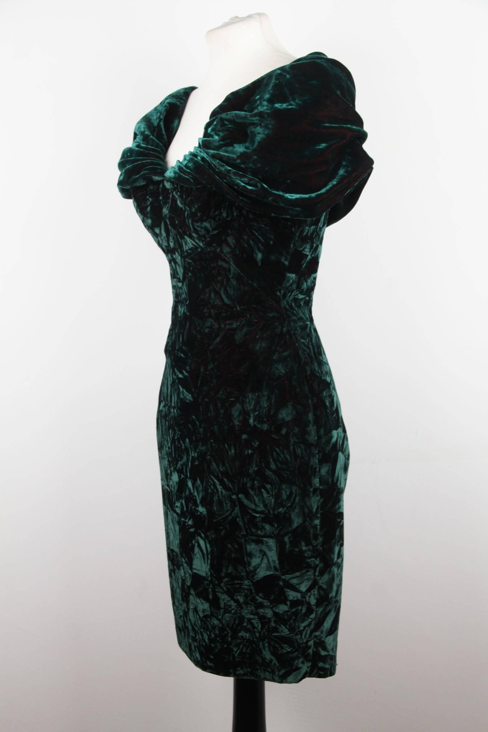 828c9573dcf0 ANTONY PRICE Vintage Green Velvet OFF SHOULDER Mini DRESS Size 10 UK For  Sale at 1stdibs