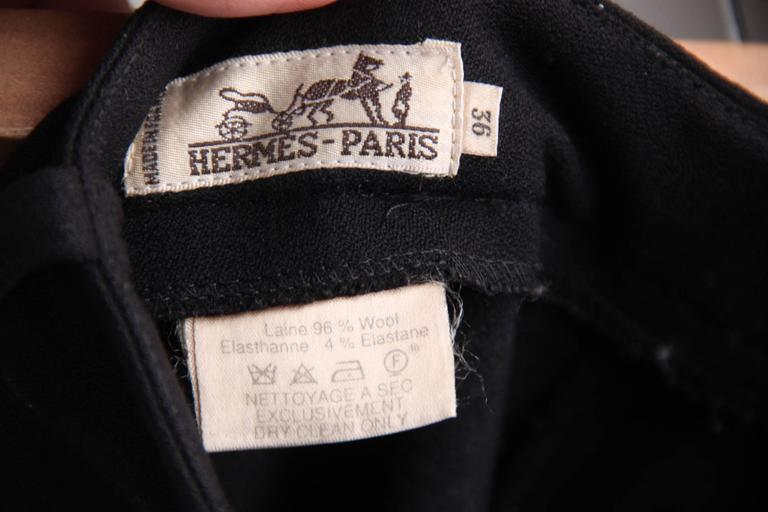 HERMES PARIS Vintage Black Wool EQUESTRIAN RIDING PANTS High Waist Sz 36 6