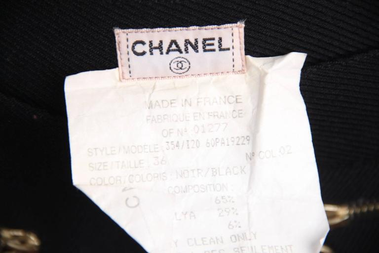 CHANEL Vintage Black Wool Blend HIGH WAIST Slim Fit TROUSERS Pants SIZE 36 FR For Sale 3