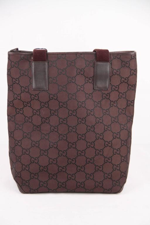 9926cc785 Gray GUCCI Italian Brown GG MONOGRAM Canvas TOTE Handbag SHOPPING BAG For  Sale