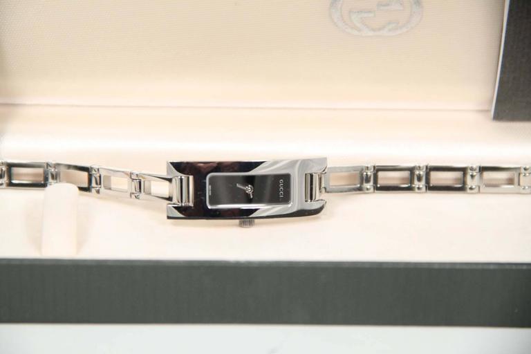 GUCCI Italian Silver Stainless Steel WRIST WATCH Mod 3905L Black Dial w/ Box 3