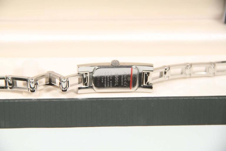 GUCCI Italian Silver Stainless Steel WRIST WATCH Mod 3905L Black Dial w/ Box 4