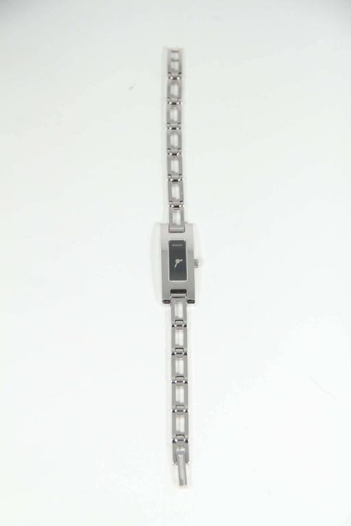 GUCCI Italian Silver Stainless Steel WRIST WATCH Mod 3905L Black Dial w/ Box 6