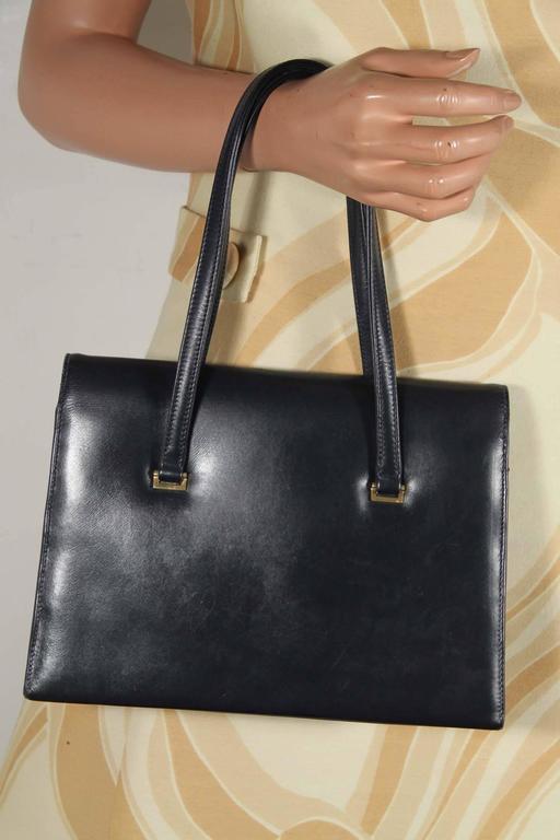 Gucci Italian Vintage Navy Blue Leather Handbag Tote Purse
