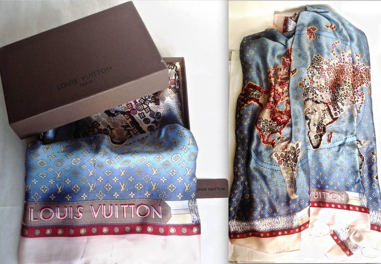 Lv louis vuitton oversized monogram luxury global map silk scarf lv louis vuitton oversized monogram luxury global map silk scarf wrap shawl at 1stdibs gumiabroncs Images
