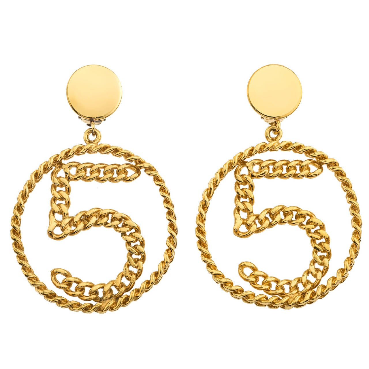 Vintage Chanel No 5 Chain Motif Earrings At 1stdibs