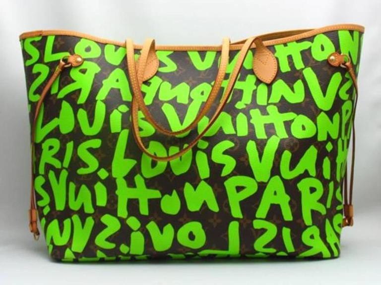 Green Louis Vuitton by Marc Jacobs Neverfull GM graffiti Tote M93703 For Sale