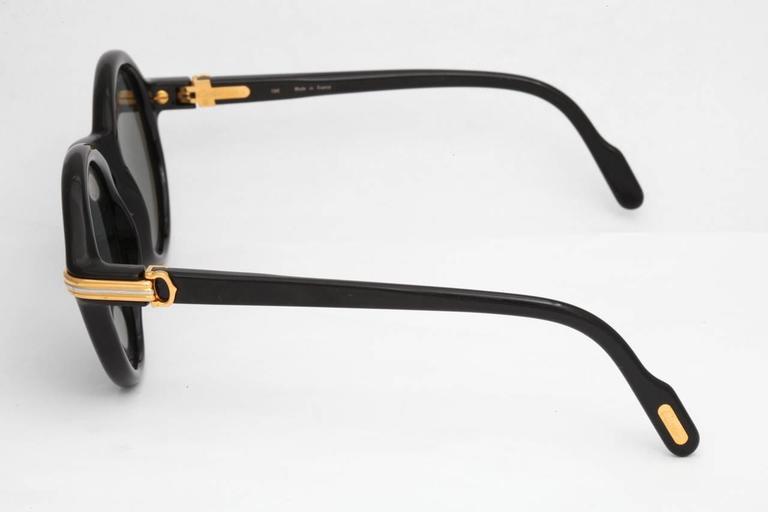 Gray Cartier Vintage Black Cabriolet Sunglasses For Sale