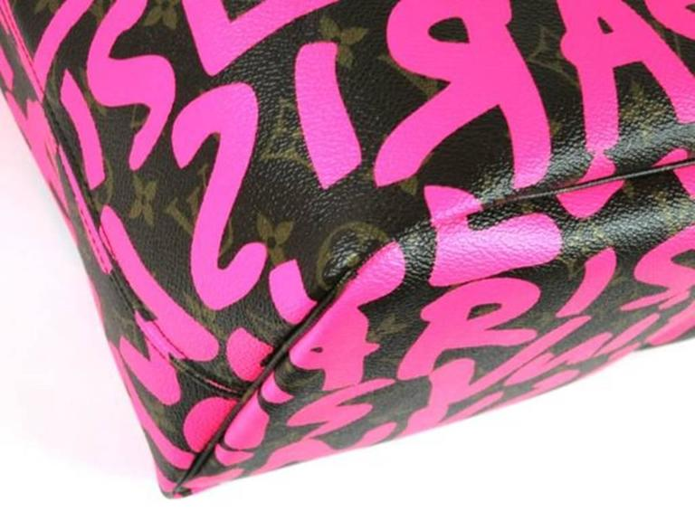 Louis Vuitton Pink Graffiti Neverfull GM Stephen Sprouse For Sale 1