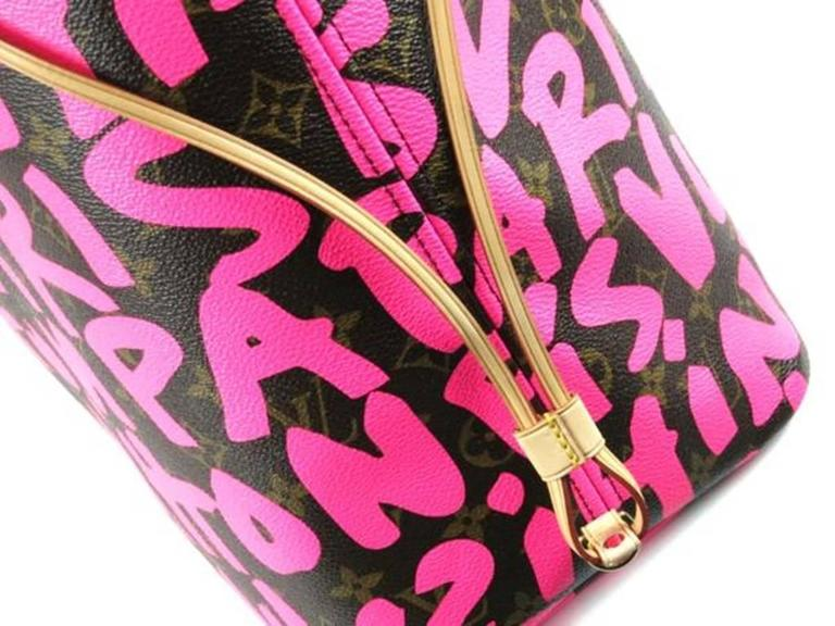 Women's Louis Vuitton Pink Graffiti Neverfull GM Stephen Sprouse For Sale