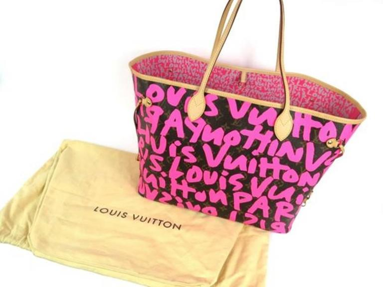 Louis Vuitton Pink Graffiti Neverfull GM Stephen Sprouse For Sale 4