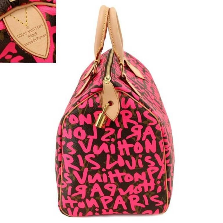 c86f421d7683 Louis Vuitton by Marc Jacobs Pink Speedy 30 Graffiti Bag In Excellent  Condition For Sale In