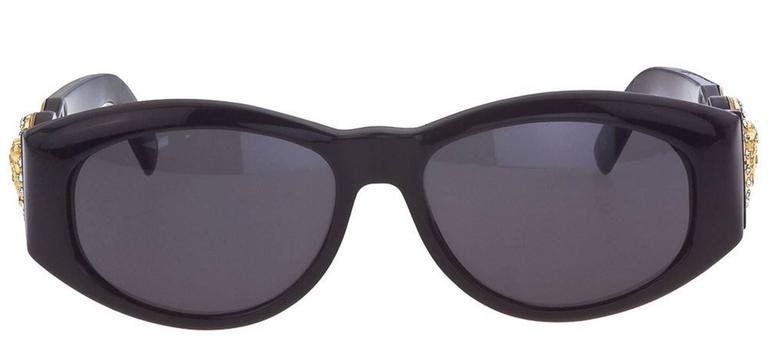 073cd517bb Versace Vintage Black MOD 424 Sunglasses with Rhinestones at 1stdibs