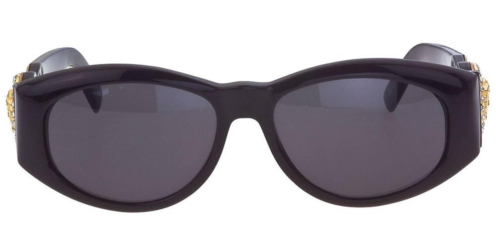 1af1029f595c Versace Vintage Black MOD 424 Sunglasses with Rhinestones at 1stdibs