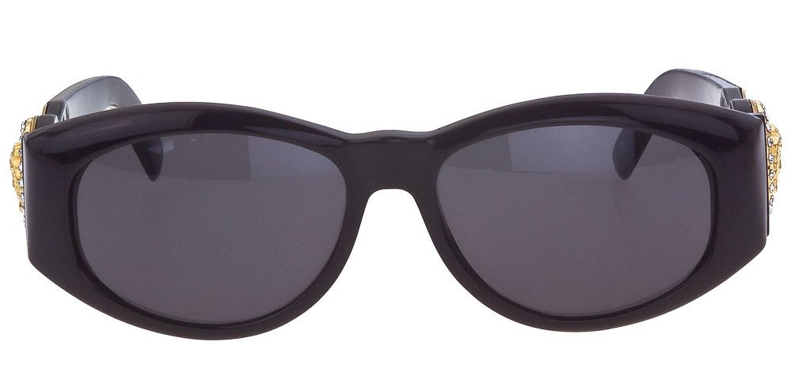 a03031cb38bf Versace Vintage Black MOD 424 Sunglasses with Rhinestones at 1stdibs