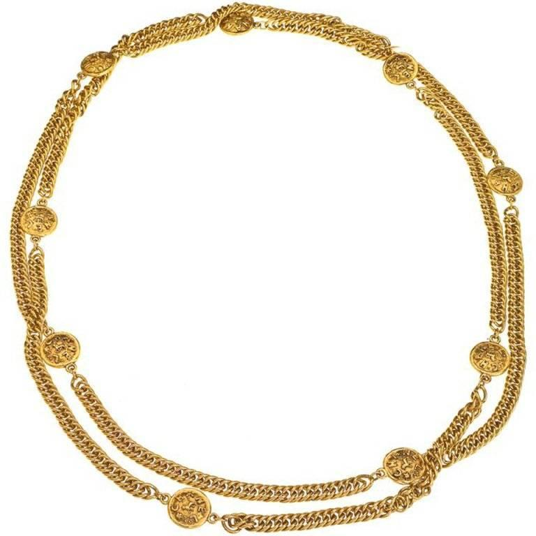 Chanel long 68 Inch Sautoir necklace with Lion motifs For Sale
