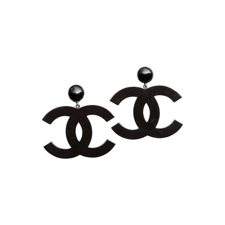 Chanel Large Black CC Dangling Earrings For Sale