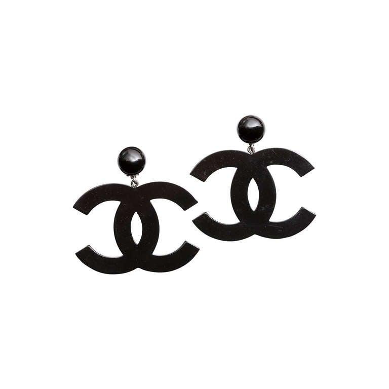 Chanel Large Black CC Dangling Earrings 1