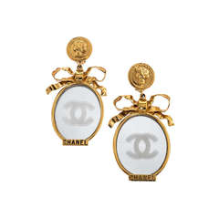 Chanel Large Vintage Mirror Earrings with Bows