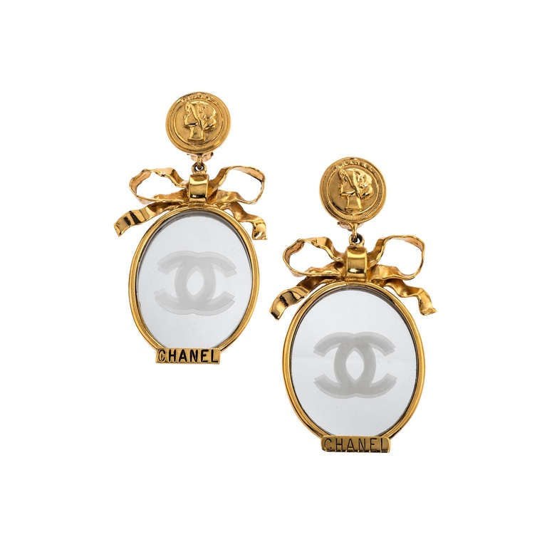 Vintage Chanel Large Mirror Earrings with Bows For Sale