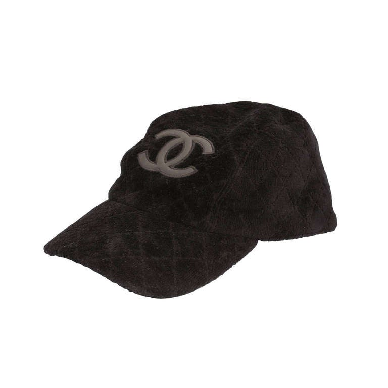 2df6e3ae7d4 Chanel Velvet Cap Hat with Leather CC Logo at 1stdibs