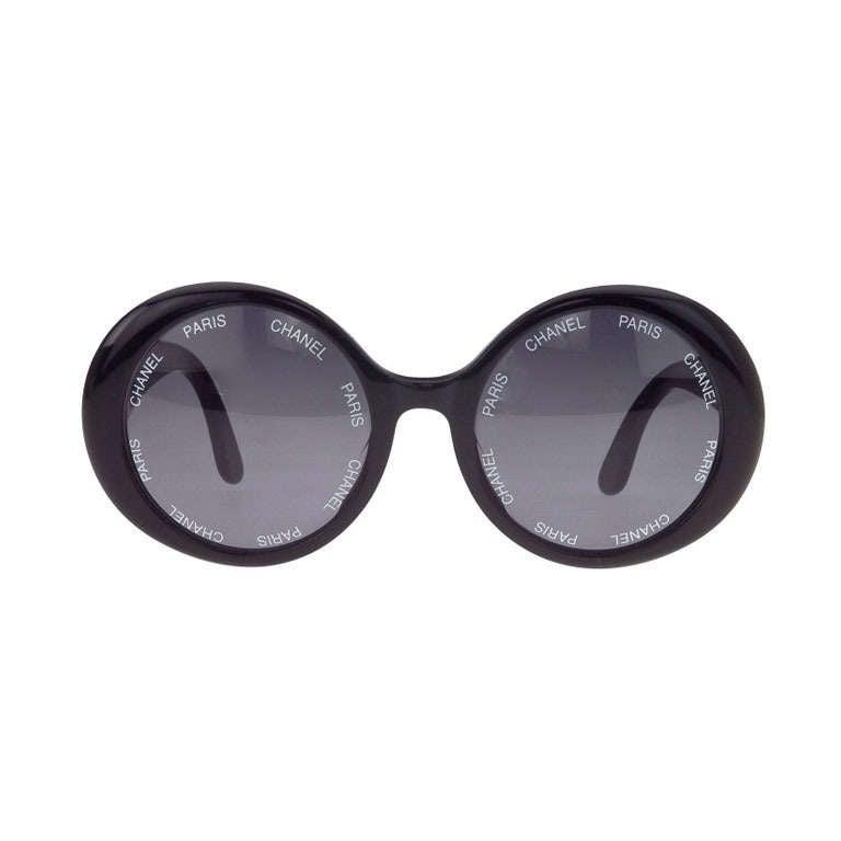 Vintage Chanel 'Chanel Paris' Logo Black Sunglasses Large 1