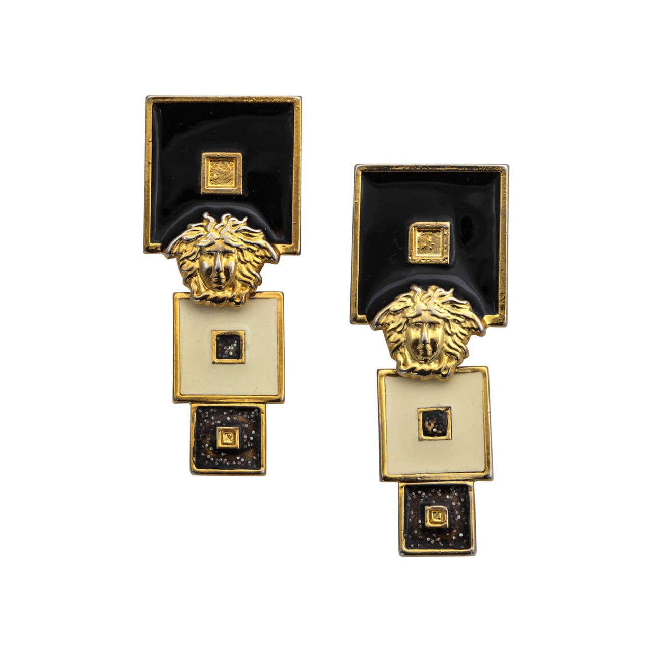 Vintage Gianni Versace Black/White Earrings For Sale