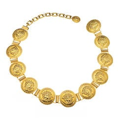 Gianni Versace Gold Massive Medusa Belt
