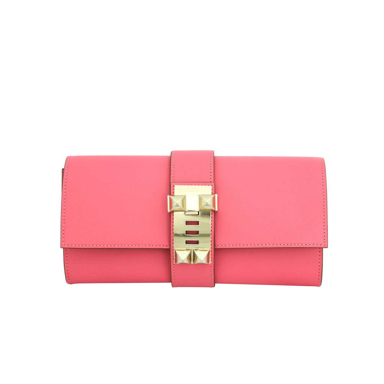Hermes Very Rare Medor Clutch Bag Rose Lipstick Pink 1