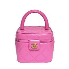 Chanel 1995  Pink Heart Mirror Vanity Case Bag