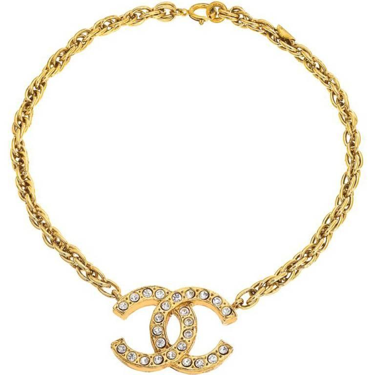 Chanel Large CC Rhinestone Necklace For Sale
