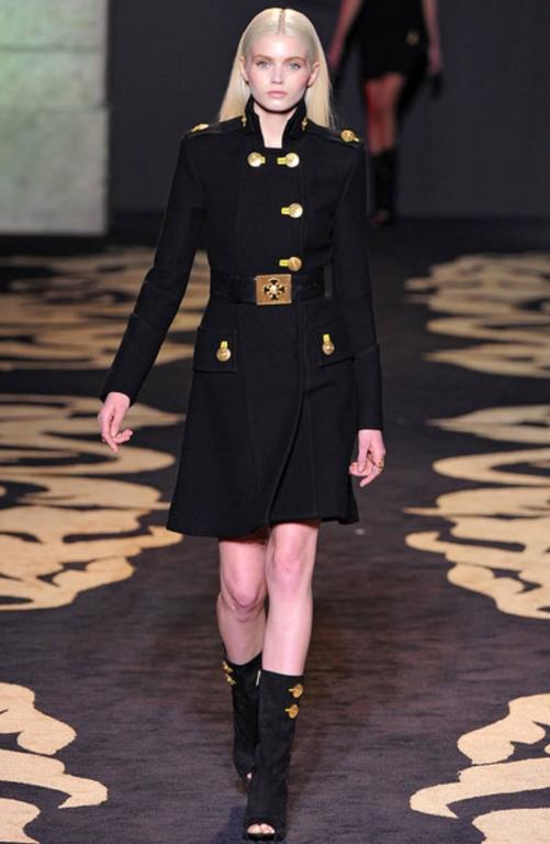 Versace Amazing Runway Black Military Coat with Medusas For Sale 6