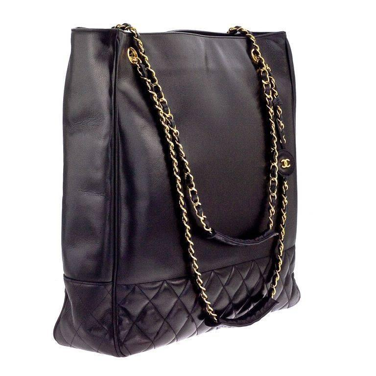 Chanel Black Tote Bag With Cc And Quilted Details 2