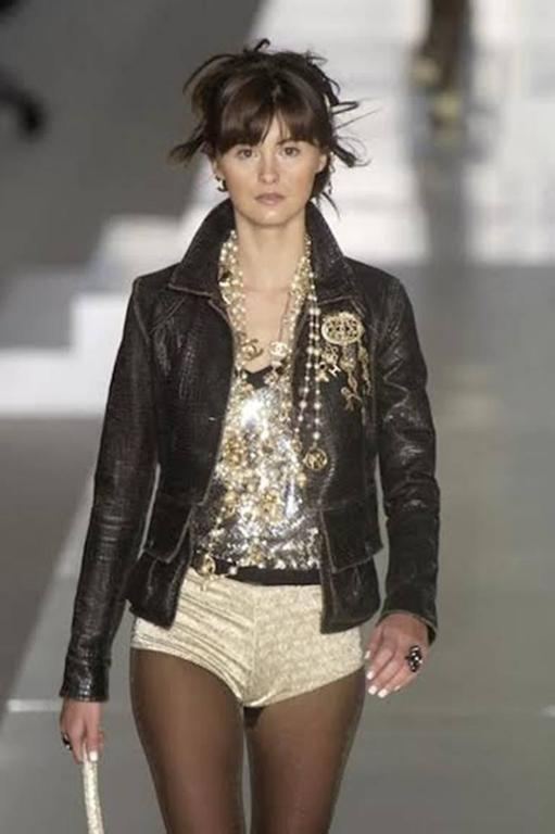 Chanel Rare Croc Embossed Vegan Leather Jacket As Seen On Runway 9