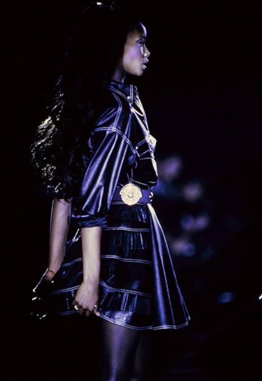 Gianni Versace Iconic 1992 Runway Black Leather Fringe Skirt For Sale 5