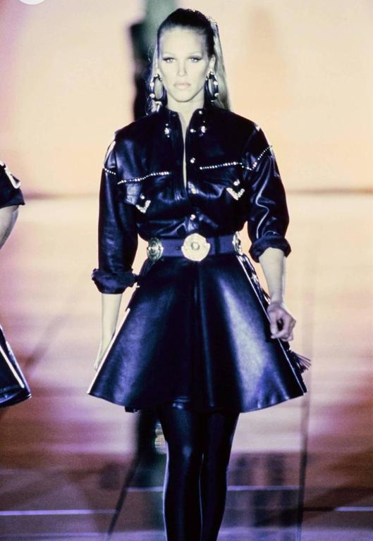 Gianni Versace Iconic 1992 Runway Black Leather Fringe Skirt For Sale 6
