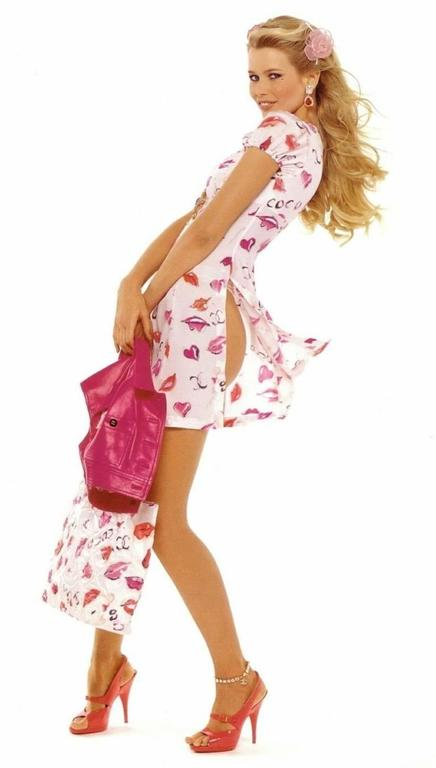 1995 Vintage Chanel Claudia Schiffer Pink Sandal Shoes For Sale 5